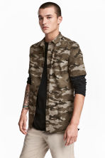 Patterned cotton shirt - Khaki/Patterned - Men | H&M CN 1