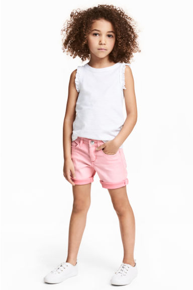 Denim shorts - Washed-out pink - Kids | H&M CA