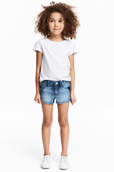 Denim shorts with sequins - Denim blue - Kids | H&M CN 1