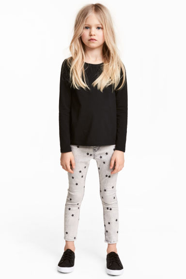 Superstretch denim leggings - Light grey washed out - Kids | H&M 1