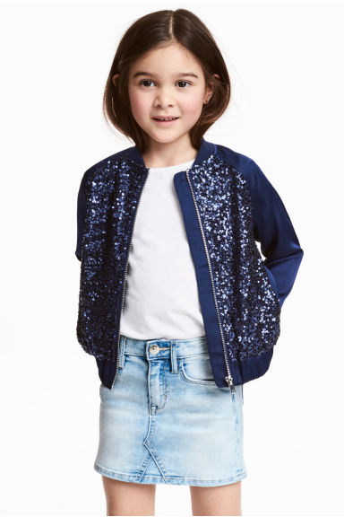 Sequined bomber jacket - Dark blue - Kids | H&M CN 1