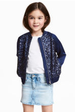 Sequined bomber jacket - Dark blue - Kids | H&M 1