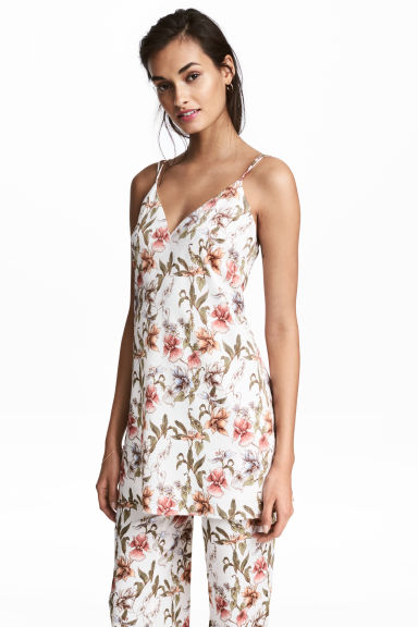 V領細肩帶上衣 - Natural white/Floral - Ladies | H&M 1