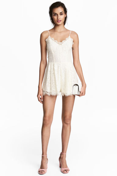 Lace playsuit - Natural white -  | H&M CN 1