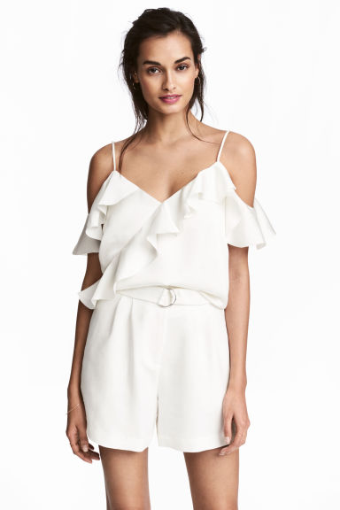 Frilled strappy top - White - Ladies | H&M CN 1