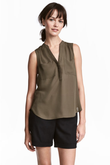 無袖上衣 - Dark Khaki - Ladies | H&M 1