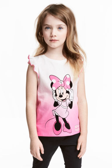 Printed jersey top - Pink/Minnie Mouse - Kids | H&M CN 1