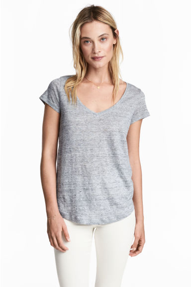 V-neck linen top - Grey marl - Ladies | H&M 1
