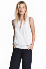Crinkled cotton top - White -  | H&M IE 1