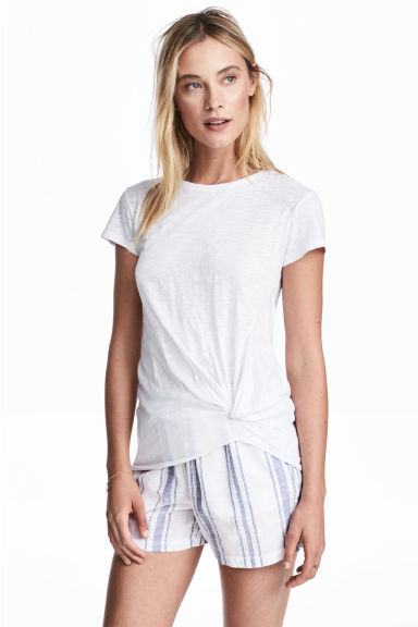 Jersey tie top - White - Ladies | H&M 1
