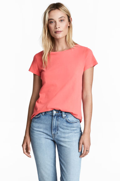 Cotton T-shirt - Coral pink -  | H&M 1
