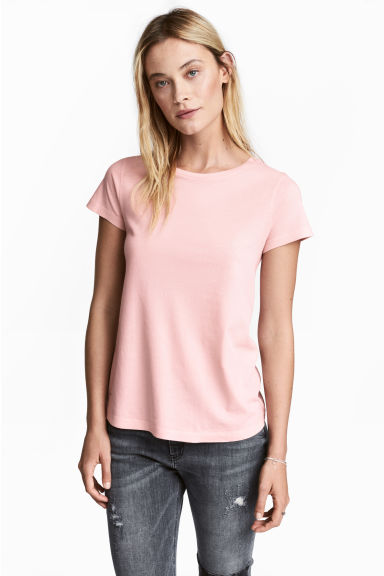 Cotton T-shirt - Light pink - Ladies | H&M CN 1