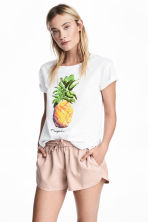 Printed cotton top - White/Pineapple - Ladies | H&M CN 1