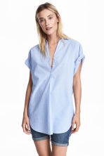 Cotton tunic - Light blue/Striped - Ladies | H&M 1