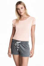 Slub jersey shorts - Dark grey marl - Ladies | H&M 1