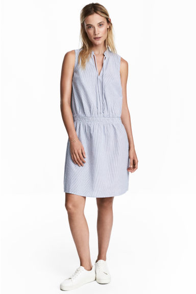泡泡紗洋裝 - Blue/White/Striped - Ladies | H&M 1