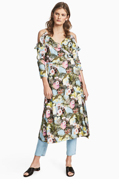 Wrapover dress - Light blue/Floral - Ladies | H&M CN 1
