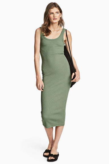 Abito in jersey a costine - Verde - DONNA | H&M IT 1
