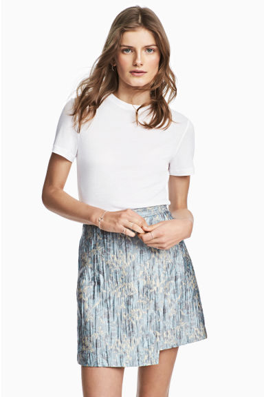 Jacquard-weave wrap skirt - Light blue/Patterned - Ladies | H&M CN 1