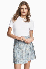 Jacquard-weave wrap skirt - Light blue/Patterned - Ladies | H&M 1