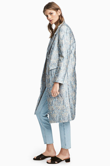 Jacquard-patterned coat - Light blue/Patterned - Ladies | H&M CN 1