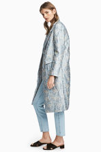 Jacquard-patterned coat - Light blue/Patterned - Ladies | H&M 1