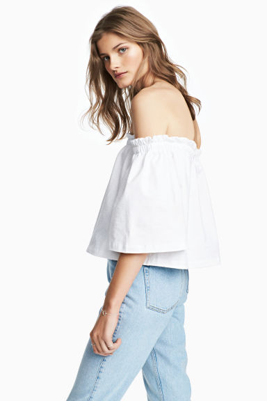 Off-the-shouldertop - Wit -  | H&M NL