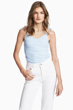Ribbed strappy top - Light blue - Ladies | H&M 1