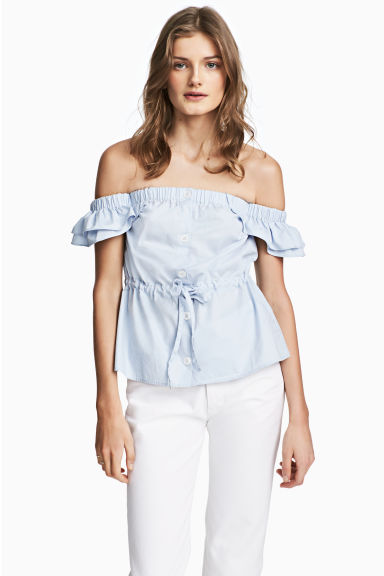 Off-the-shoulder blouse - Light blue - Ladies | H&M 1