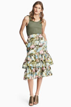 Tiered cotton skirt - Light blue/Floral -  | H&M 1