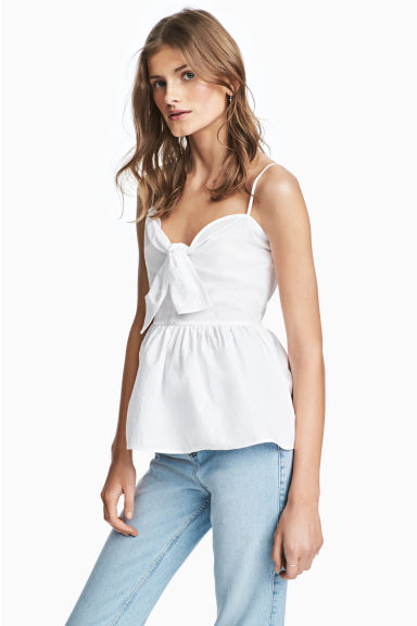 Cotton top with a tie - White -  | H&M