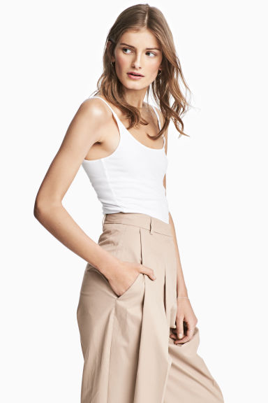 Double-layered strappy top - White - Ladies | H&M 1