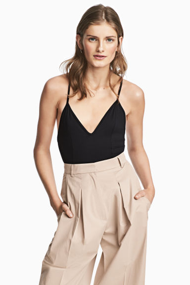 Body con scollo a V in jersey - Nero -  | H&M IT 1