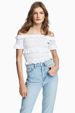Off-the-shoulder blouse - White - Ladies | H&M 1