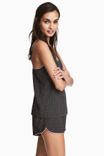 Pyjamas with cami and shorts - Black/Patterned - Ladies | H&M CN 1