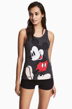 Pyjamas with top and shorts - Dark grey/Mickey Mouse - Ladies | H&M CN 1