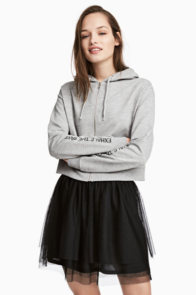 短版連帽外套 - Grey marl - Ladies | H&M 1