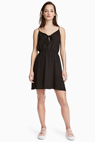 Tie-detail dress - Black - Ladies | H&M 1