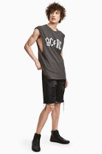 Trashed Denim shorts - Black denim - Men | H&M 1