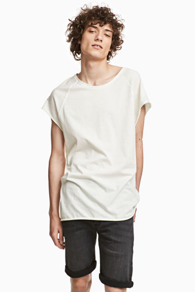 Slub jersey T-shirt - Natural white - Men | H&M