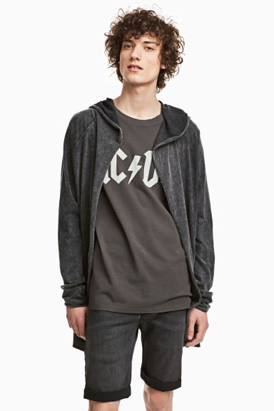 Long hooded cardigan - Black washed out - Men | H&M 1