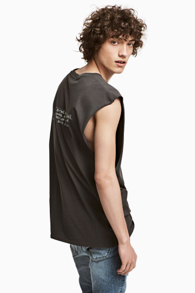Printed vest top - Dark grey AC/DC - Men | H&M CN 1