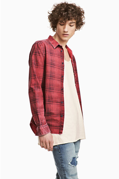 Washed cotton shirt - Red/Checked - Men | H&M CN 1