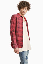 Washed cotton shirt - Red/Checked - Men | H&M 1