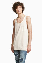 Slub jersey vest top - Natural white - Men | H&M CN 1