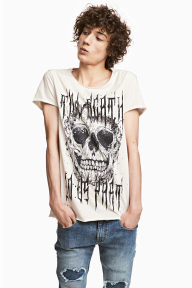 Printed T-shirt - Natural white - Men | H&M 1