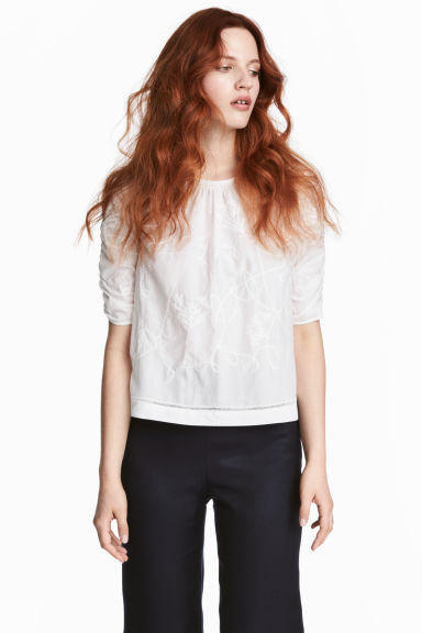 Embroidered blouse - White/Embroidery -  | H&M 1