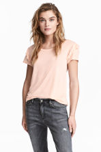 Frilled jersey top - Powder pink marl - Ladies | H&M CN 1