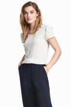 Frilled jersey top - Light grey marl - Ladies | H&M 1