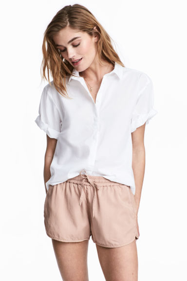 Short-sleeved cotton shirt - White - Ladies | H&M 1